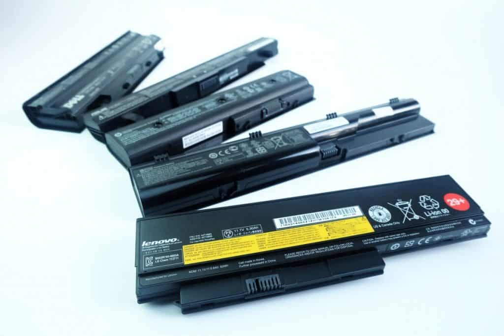 Pile of used Laptop computer Battery