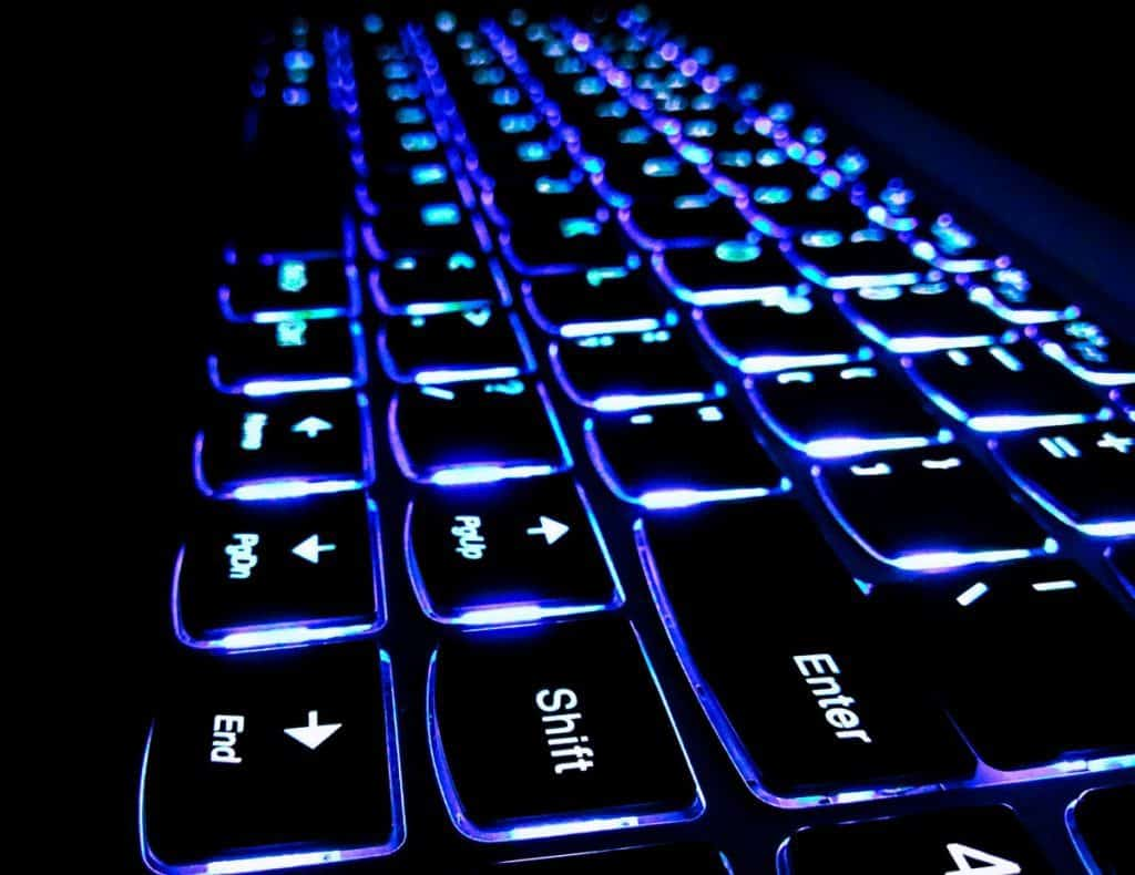 The colourful Keyboard of Lenovo laptop