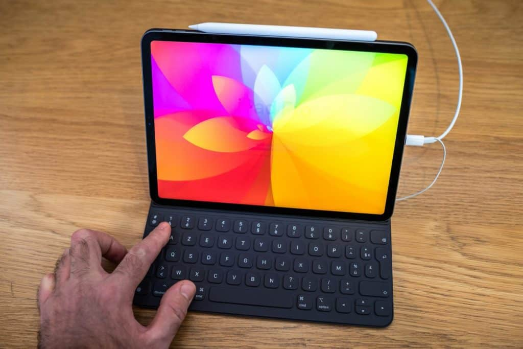 iPad Pro tablet using keyboard cover