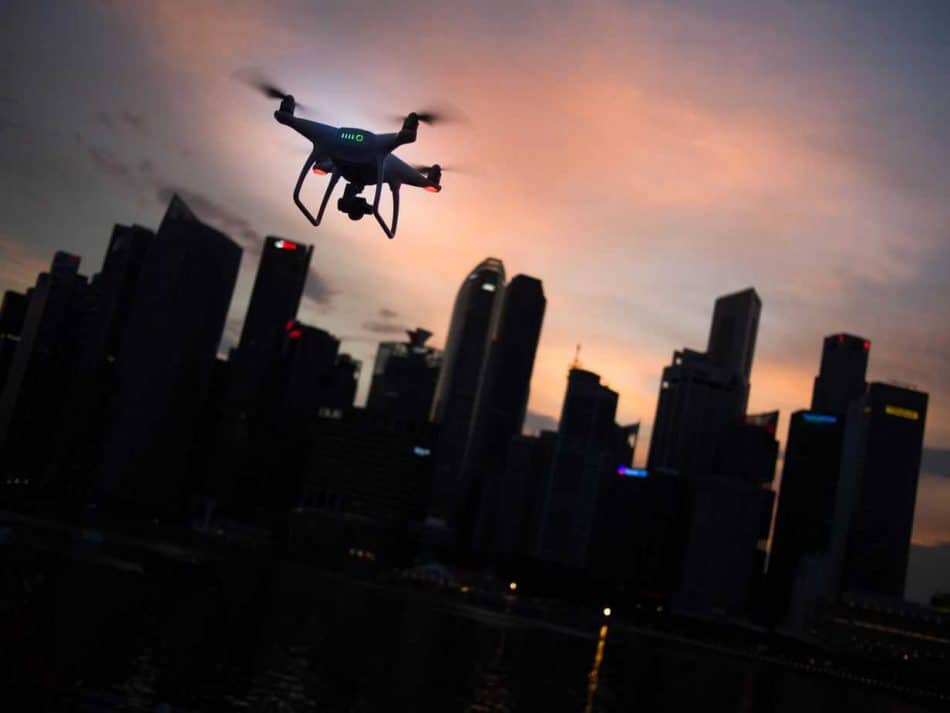 drone with city background