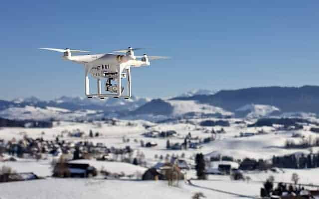drone flown over snow