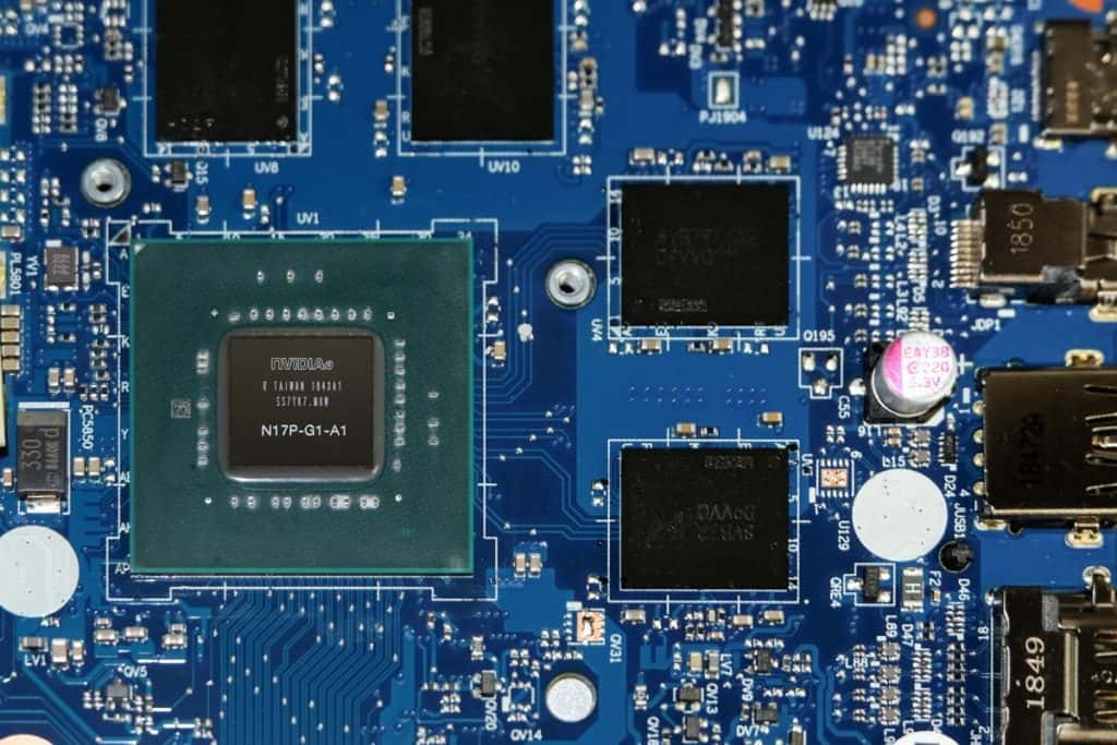 Nvidia GPU Graphics chip on a laptop motherboard.