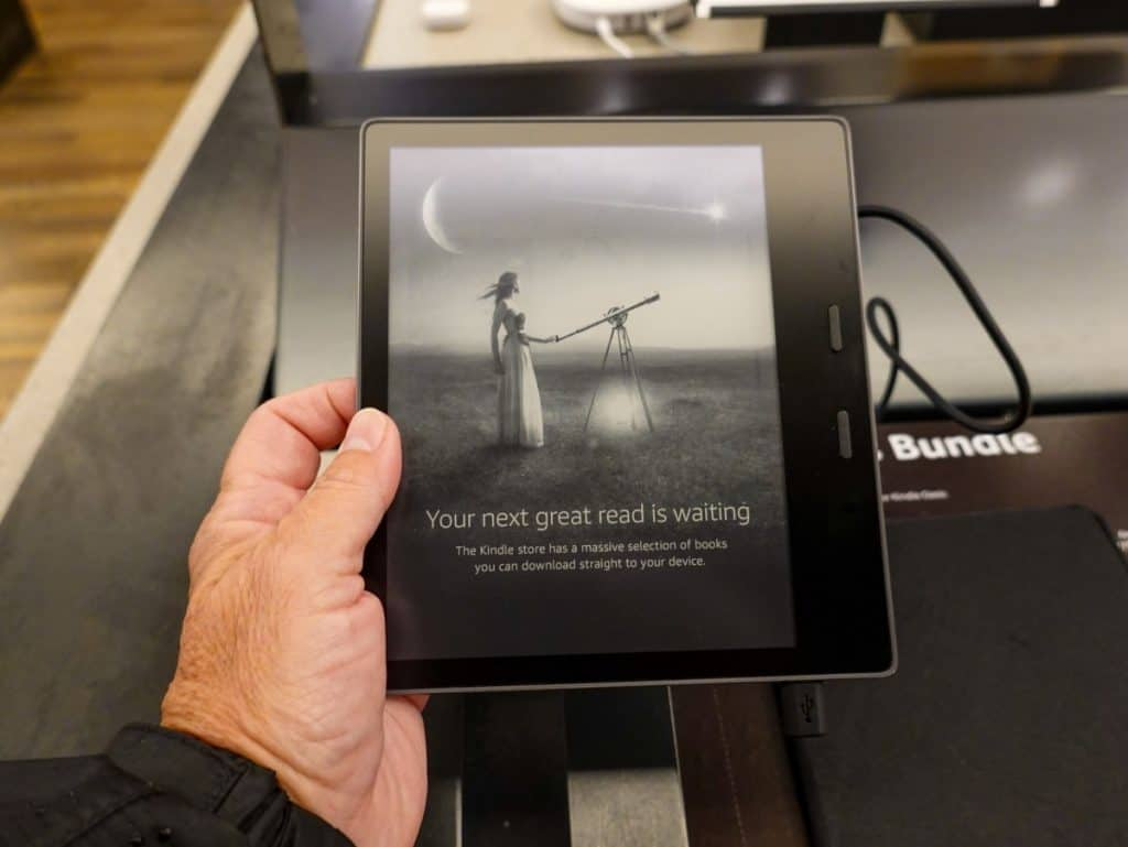 Amazon Kindle Paperwhite device on sale at an Amazon Book Store