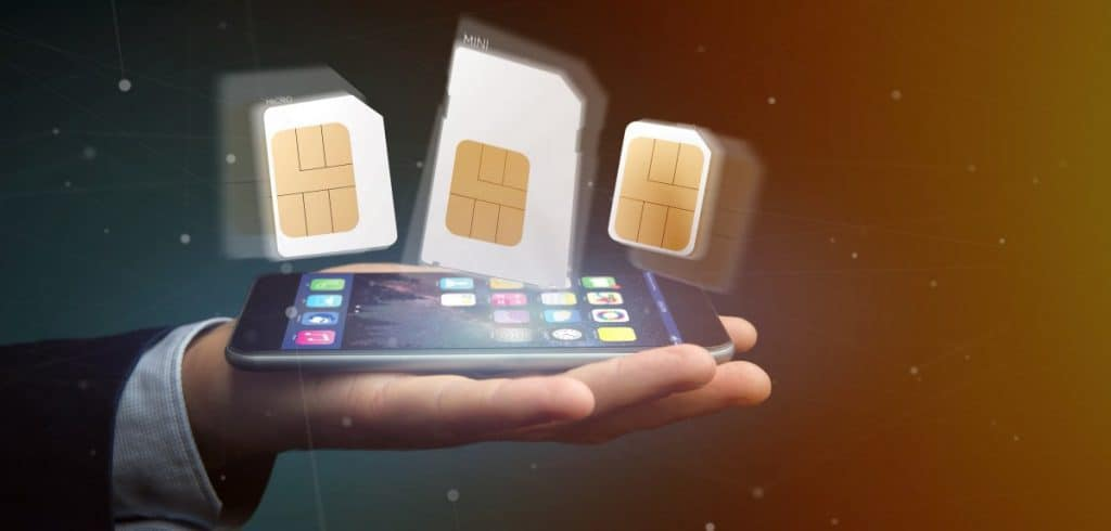 Different size of a smartphone sim card 3d