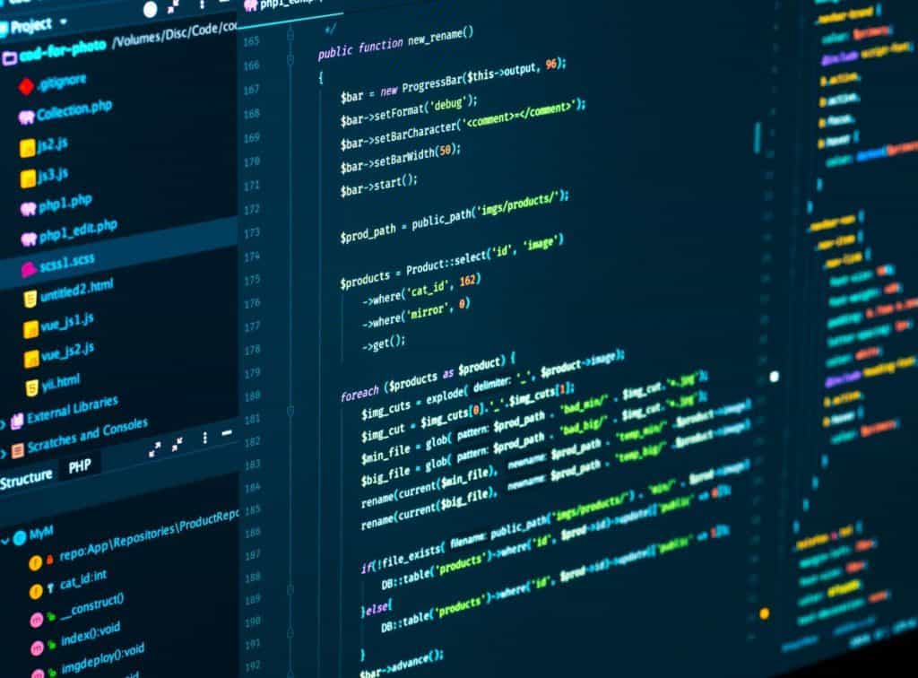 Software programming code developing in the code editor