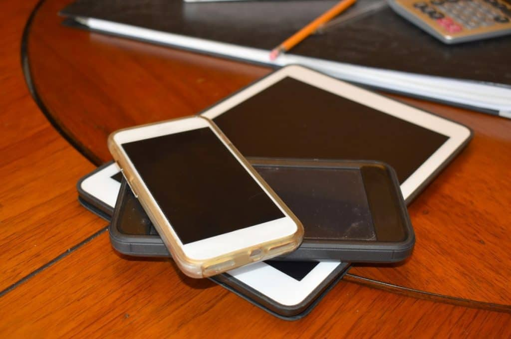 Tablet and smart phones used in business