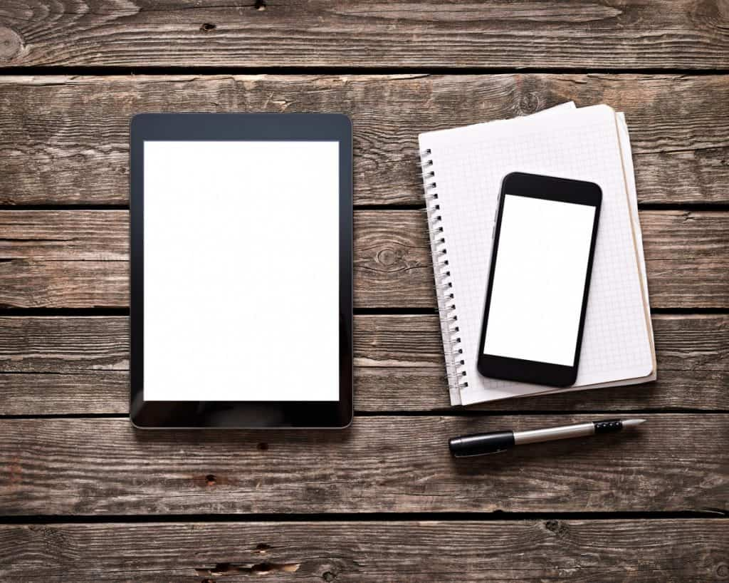 tablet with phablet and notepad