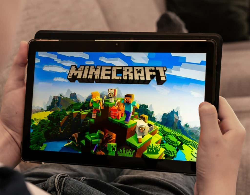 Minecraft on a tablet, shallow depth of field.
