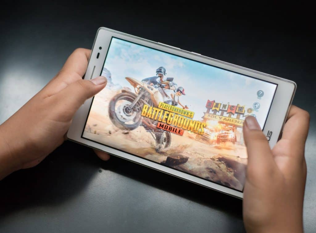 Tablet with game on screen