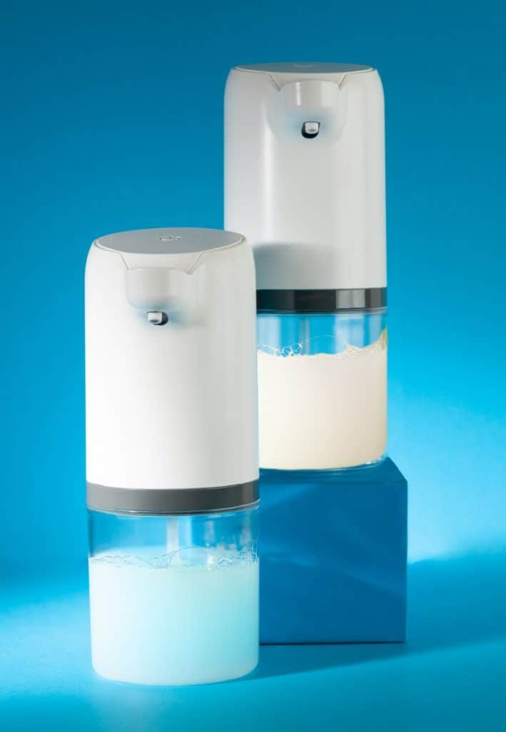 Two automatic soap dispensers