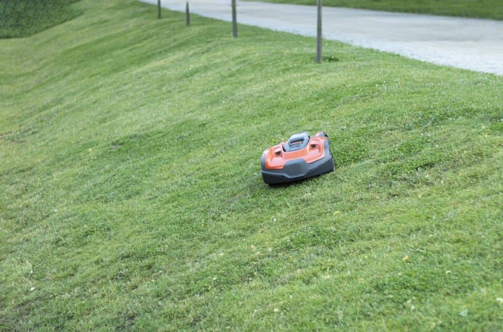 Automatic lawn mower in the process of working