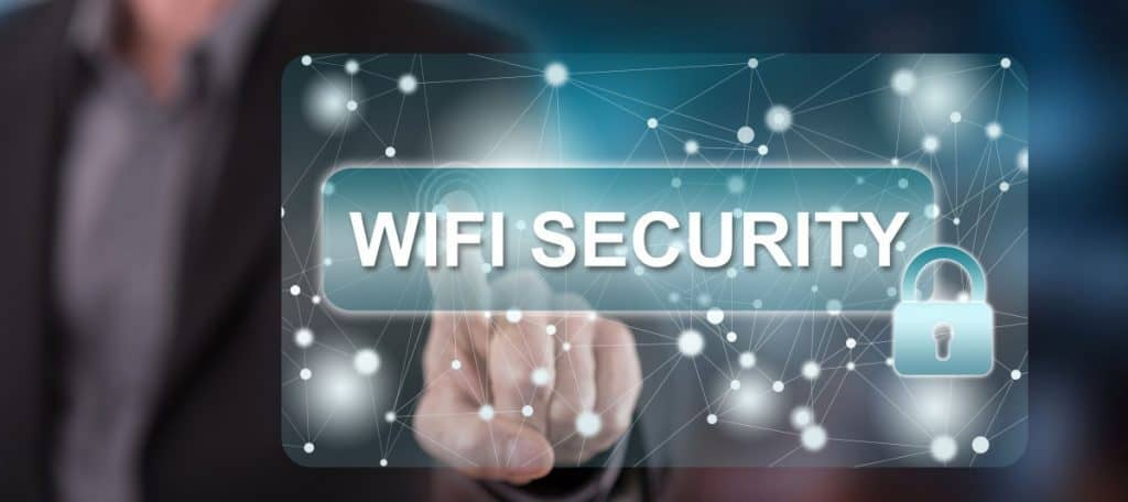 Man touching a wifi security concept