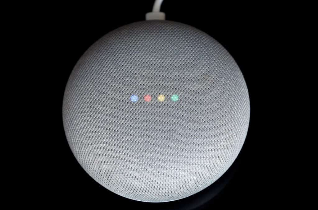 Overhead View Of A Google Home Mini With Cable