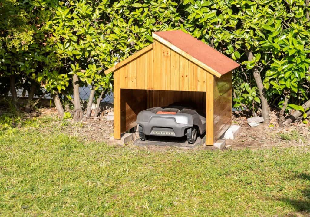 Robotic Lawn Mower parking at the charging station