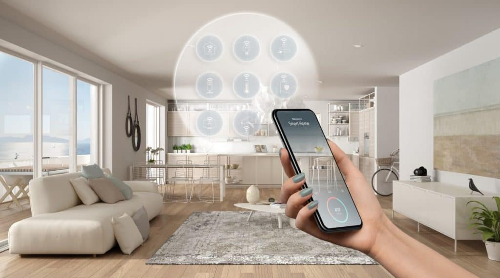 Smart home technology interface on phone app