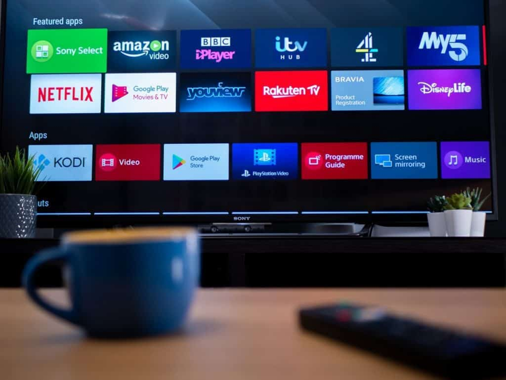 smart TV showing featured apps